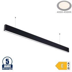 50W LED Linearleuchte Up and Down Professional mit Abhängung Schwarz Neutralweiß