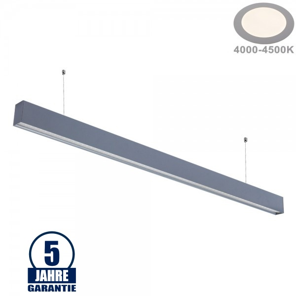 40W LED Linearleuchte mit Abhängung UGR19 Silber Neutralweiß