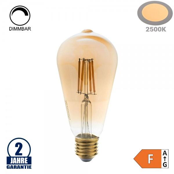 8W LED Vintage E27 ST64 Birne Gold Glas Warmweiß 2500K Dimmbar