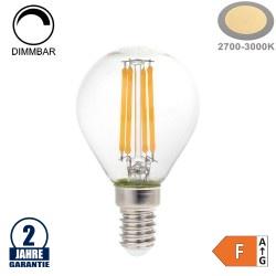 4W LED FILAMENT E14 G45 Birne Glas 400 Lumen Warmweiß Dimmbar
