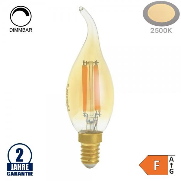 4W LED Vintage E14 C35 Windstoßkerze Gold Glas Warmweiß 2500K Dimmbar