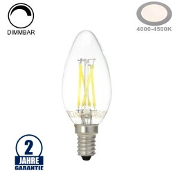 4W LED FILAMENT E14 C35 Kerze Glas 400 Lumen Neutralweiß Dimmbar