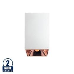 Deckenstrahler GU10 Quader Weiß mit bronzenen Reflektor
