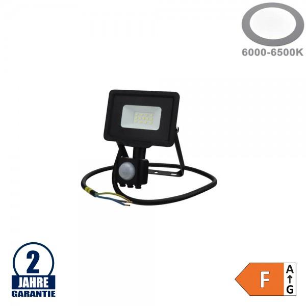10W LED SMD Fluter mit Bewegungsmelder und 70cm Kabel Schwarz Kaltweiß