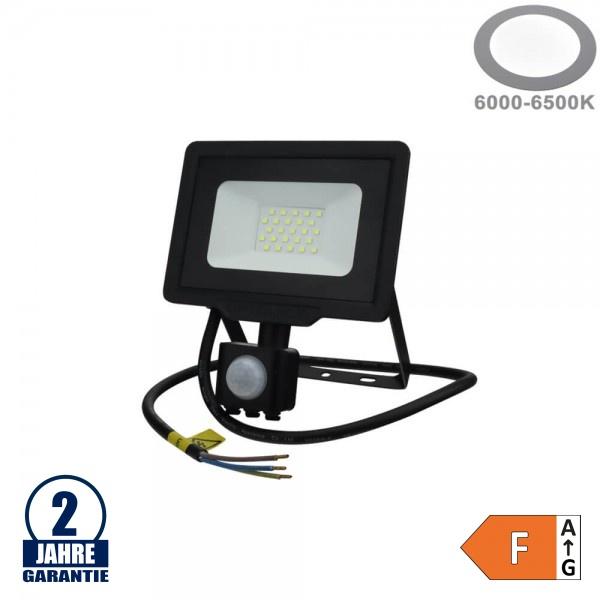 20W LED SMD Fluter mit Bewegungsmelder und 70cm Kabel Schwarz Kaltweiß