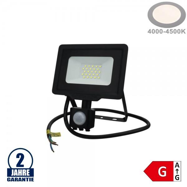 20W LED SMD Fluter mit Bewegungsmelder und 70cm Kabel Schwarz Neutralweiß