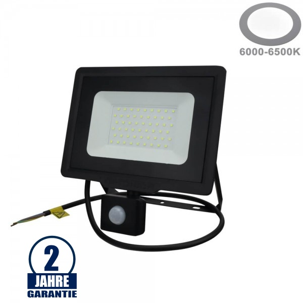 50W LED SMD Fluter mit Bewegungsmelder und 70cm Kabel Schwarz Kaltweiß