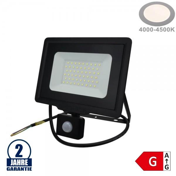 50W LED SMD Fluter mit Bewegungsmelder und 70cm Kabel Schwarz Neutralweiß