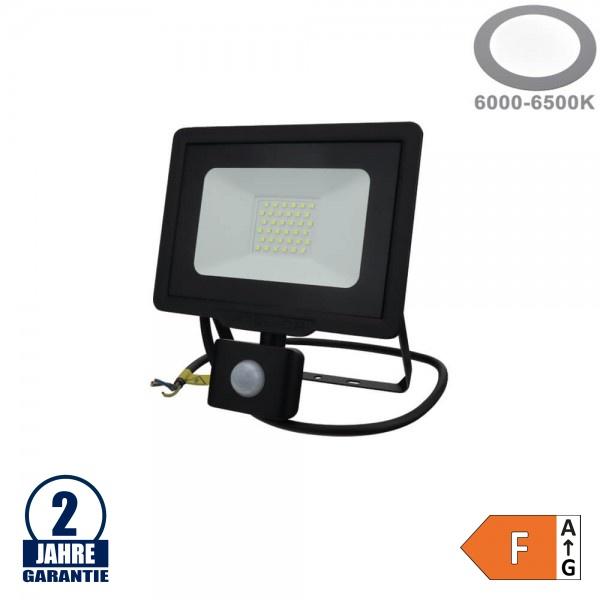 30W LED SMD Fluter mit Bewegungsmelder und 70cm Kabel Schwarz Kaltweiß