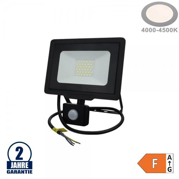 30W LED SMD Fluter mit Bewegungsmelder und 70cm Kabel Schwarz Neutralweiß