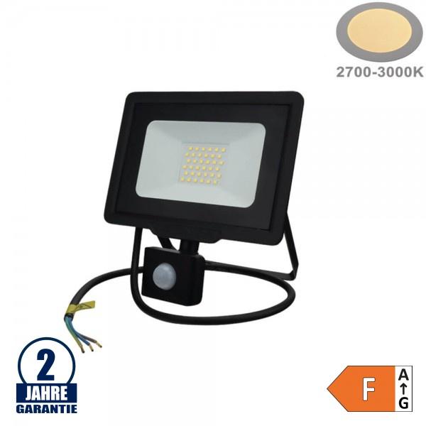 30W LED SMD Fluter mit Bewegungsmelder und 70cm Kabel Schwarz Warmweiß
