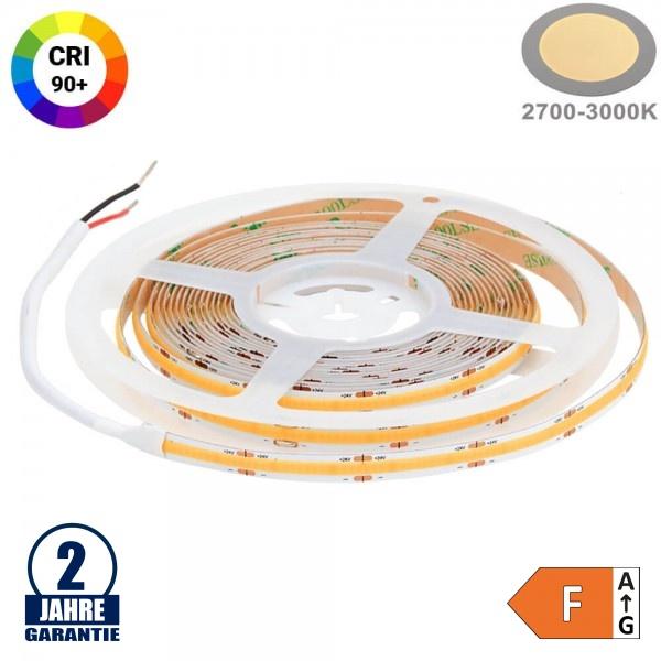 512SMD/m 12W/m 24V COB LED Streifen CRI90+ Warmweiß 5m